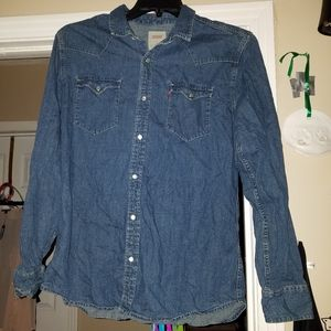 M Levi's blue Jean type button up